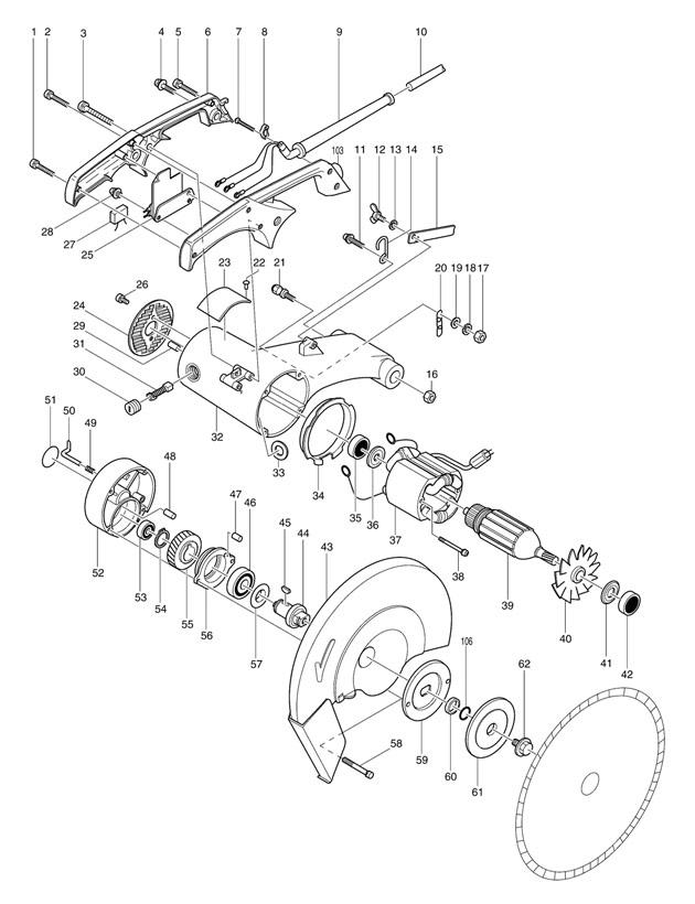 Makita Cut Off Saw Parts Diagram