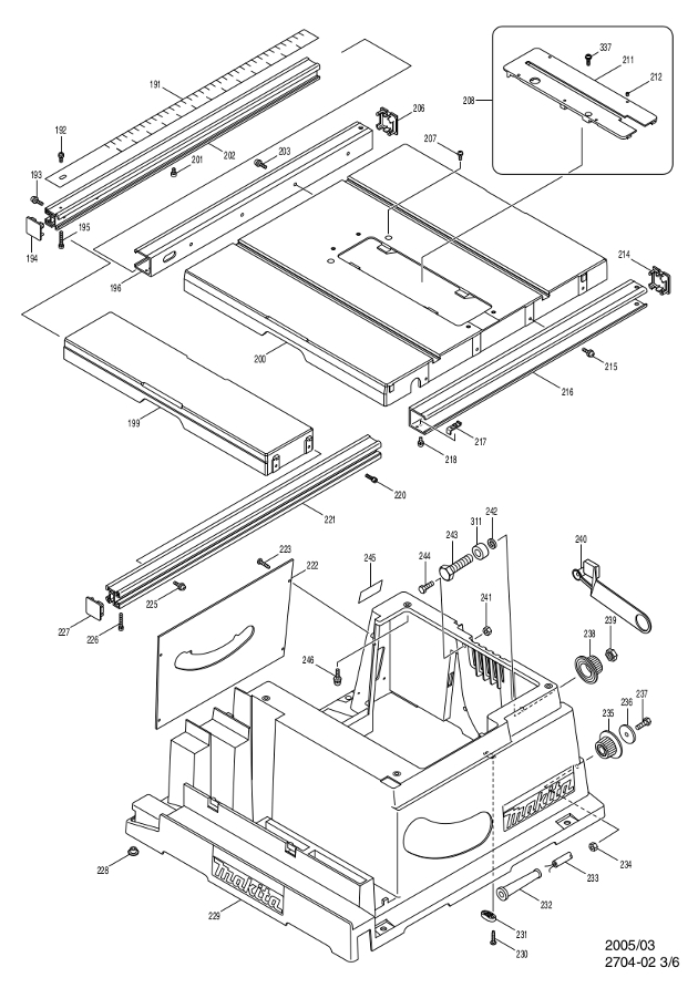 Makita 2704 260mm Table Saw Spare Parts - Part Shop Direct on