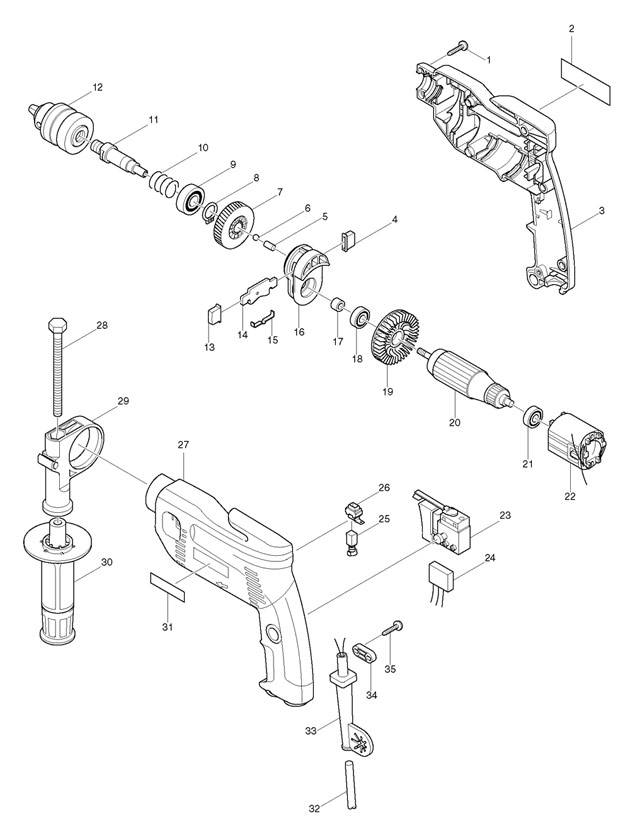 makita hammer drill parts list