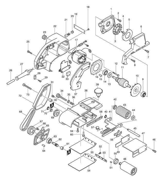 makita 9401 belt sander 100mm 9401 spare parts part shop. Black Bedroom Furniture Sets. Home Design Ideas