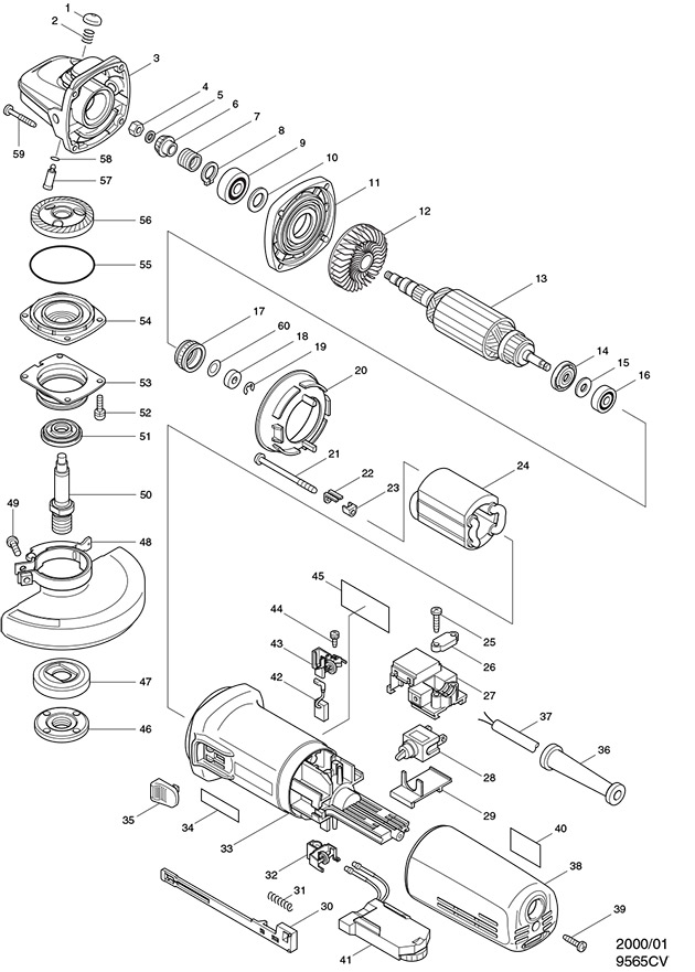 Makita 9565CV Spare Parts - Part Shop Direct on grinder pumps diagram, grinder motor, grinder parts, grinder accessories,