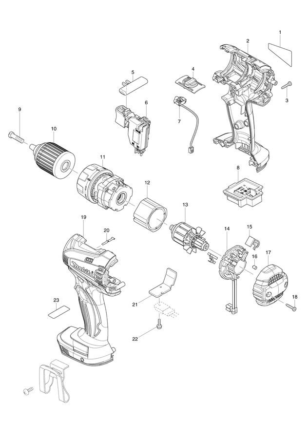makita bdf456 18v li-ion cordless drill  driver spare parts