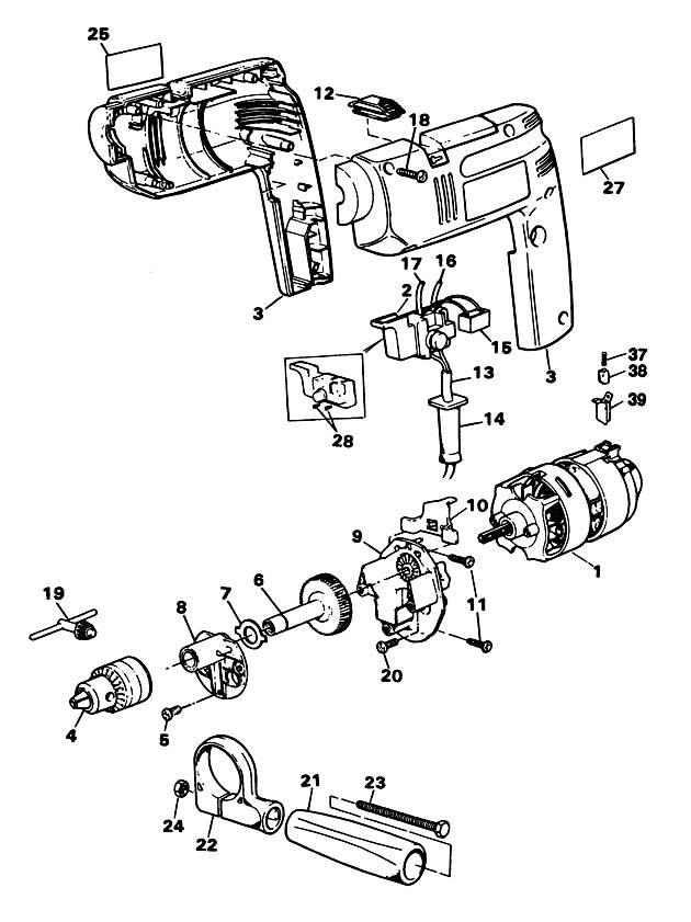 black  u0026 decker bd551 type h2b drill spare parts