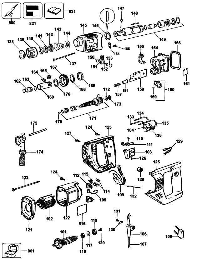 Dewalt Dw567 Type 1 Rotary Hammer Spare Parts