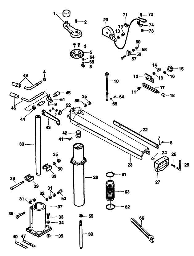 dewalt dw725 type 2 radial arm saw spare parts part shop Radial Arm Saw Repair De Walt Radial Arm Saw