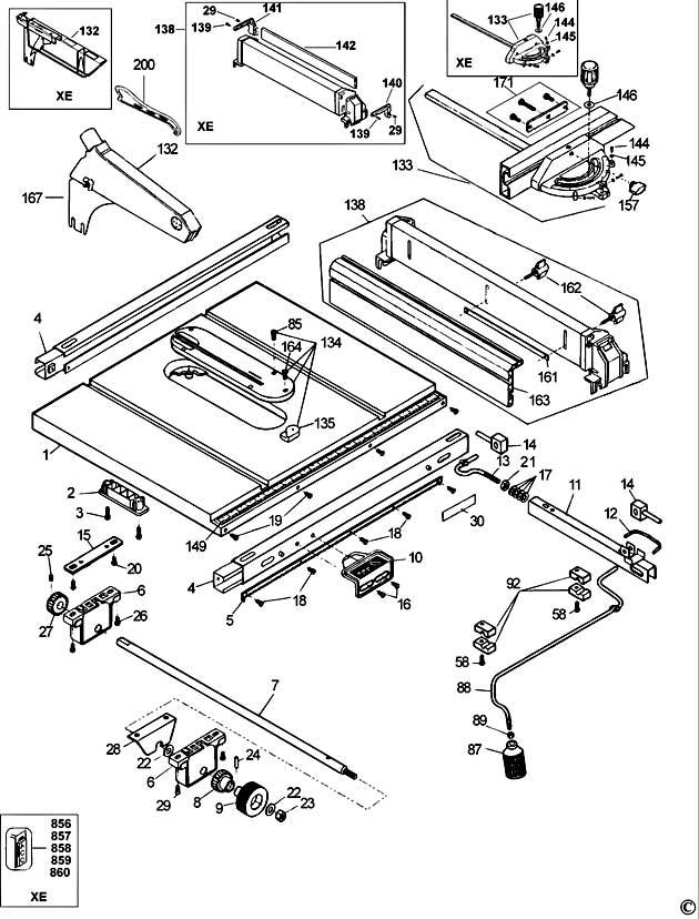 Dewalt Dw744 Type 1 Table Saw Spare Parts Part Shop Direct
