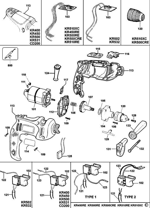 Black Amp Decker Kr500re Type 1 Drill Spare Parts Part