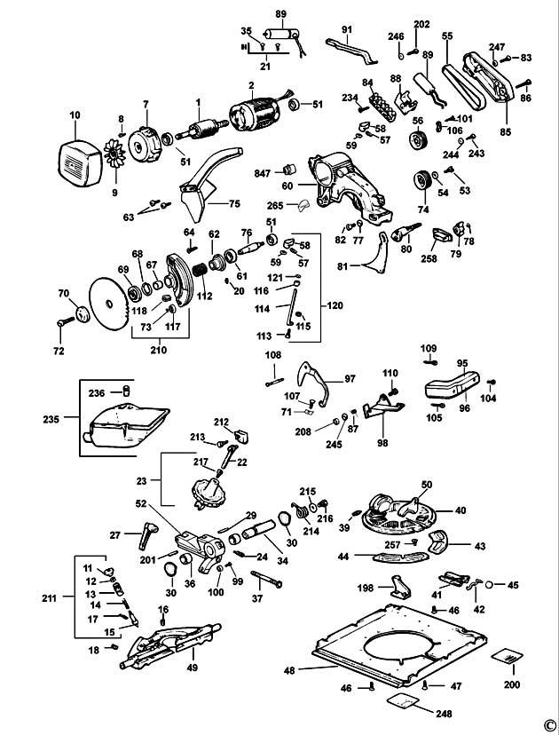 Dewalt Dw742 Type 3 Combination Saw Spare Parts