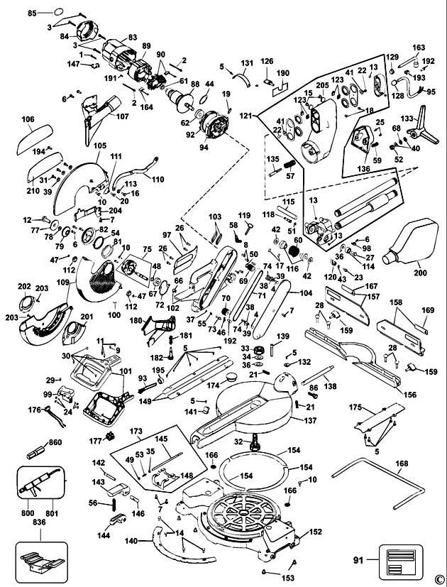 Dewalt Dw708 Type 3 Mitre Saw Spare Parts Part Shop Direct