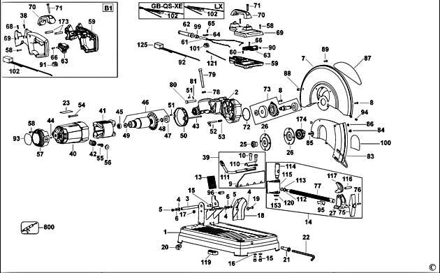 dewalt d28715 type 2 chop saw spare parts