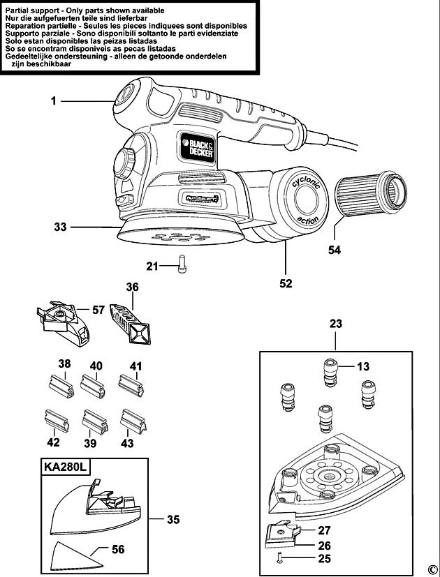 Black  U0026 Decker Ka280 Type 1 Orbital Sander Spare Parts
