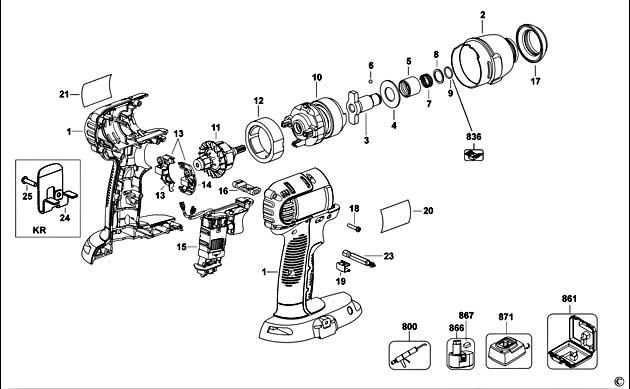Dewalt Dc845 Type 2 Impact Driver Spare Parts
