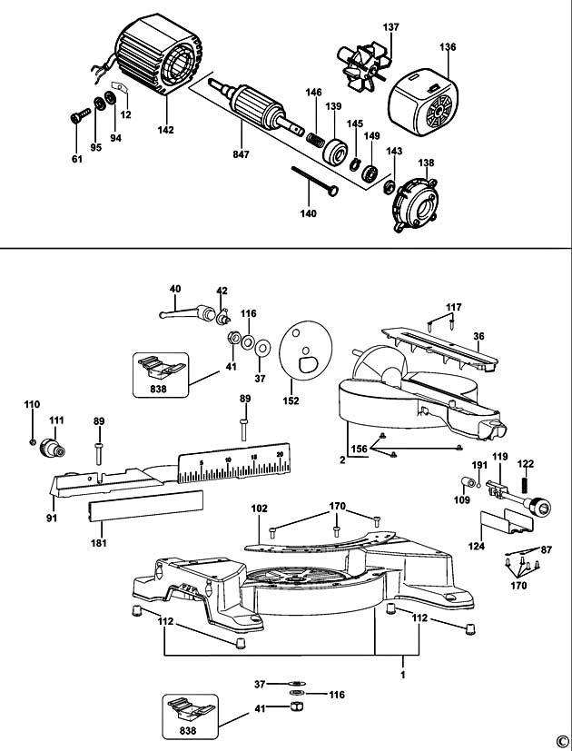 Dewalt Dw711 Type 1 Table Saw Spare Parts Part Shop Direct