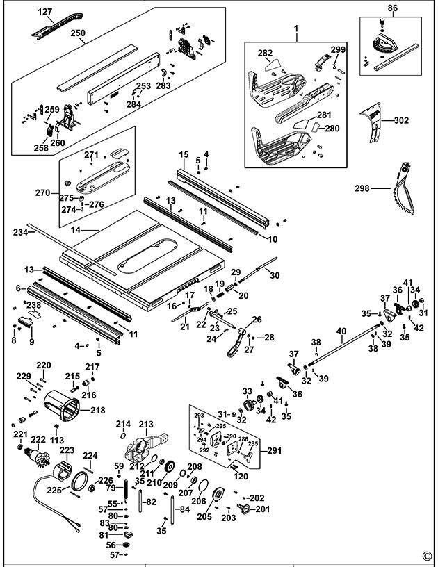 Dewalt Dw745 Xe Table Saw Spare Parts Part Shop Direct