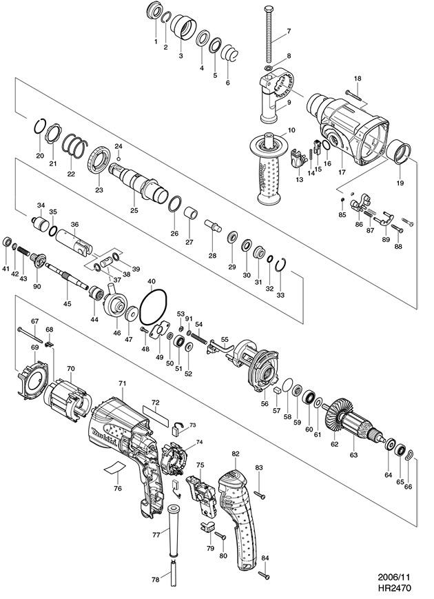 Makita HR2470 Sds Plus Rotary Hammer Spare Parts - Part Shop