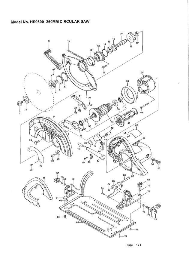 Makita HS0600 110 & 240 Volt 270mm Circular Saw Spare Parts - Part on