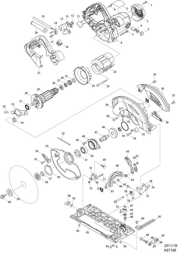 Makita Hs7100 110 240 Volt 190mm Circular Saw Spare Parts