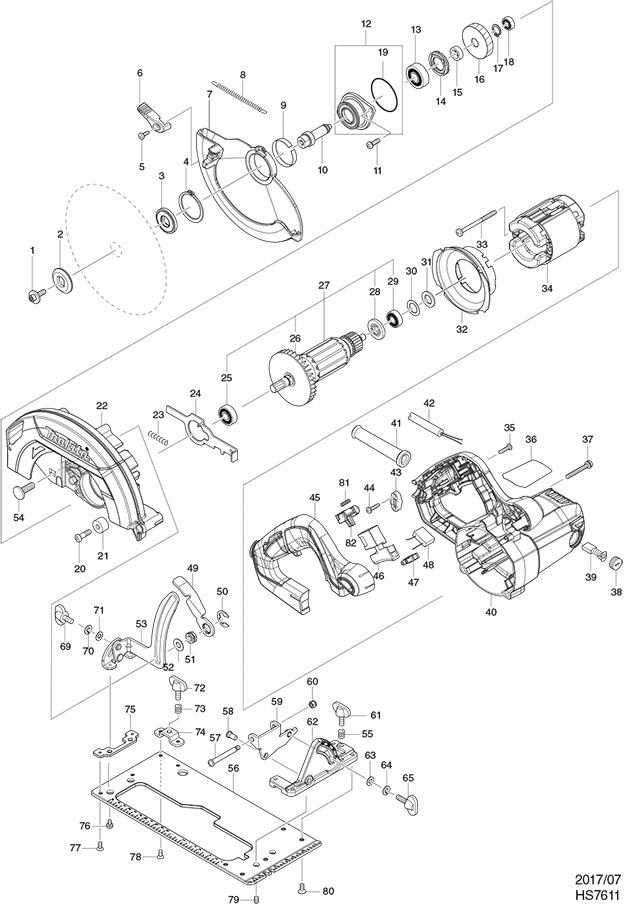 Makita Hs7611 110 240 Volt 190mm Circular Saw Spare Parts