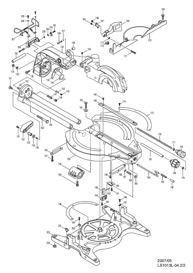Makita LS1013L Corded 260mm Slide Compound Mitre Saw (with ... on makita ls1011, makita ls1013l parts, makita tools repair manuals,