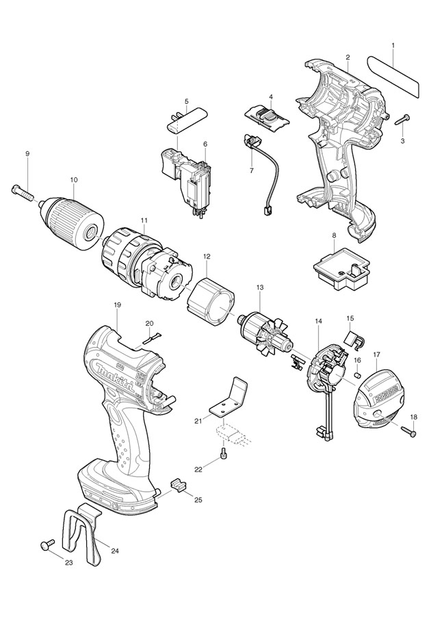 makita bhp452 18v li-ion 1  2 spare parts