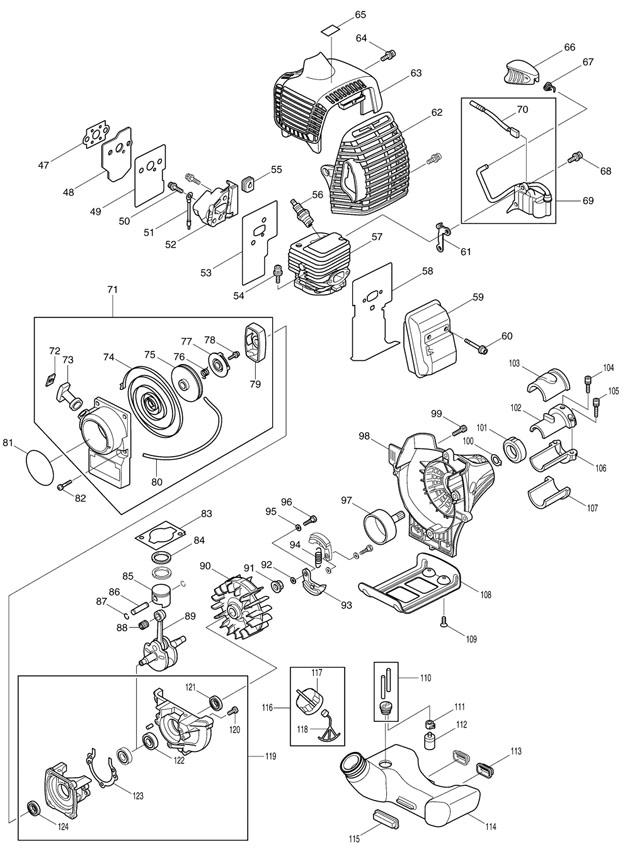 makita dbc260u spare parts