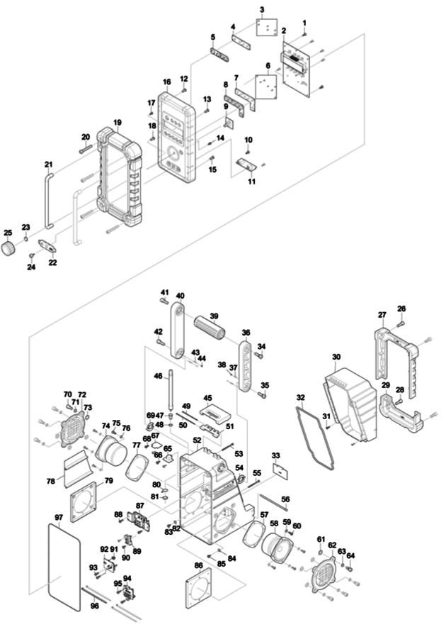 Makita DMR109 Blue Radio Spare Parts - Part Shop Direct on
