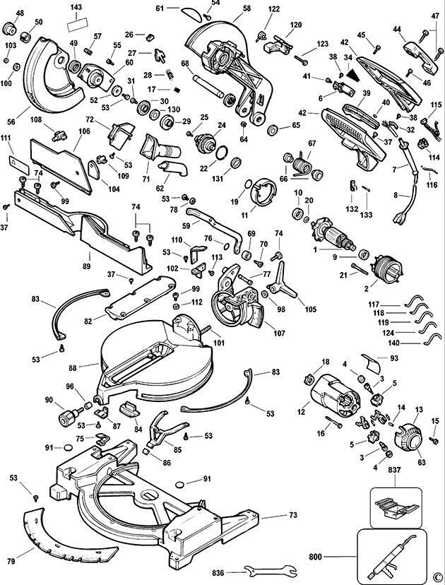 e12767 dewalt dw705 type 2 3 mitre saw spare parts part shop direct dewalt dw705 wiring diagram at aneh.co