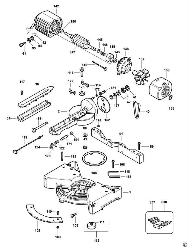 Dewalt dw711 type 1 table saw spare parts part shop direct greentooth Images