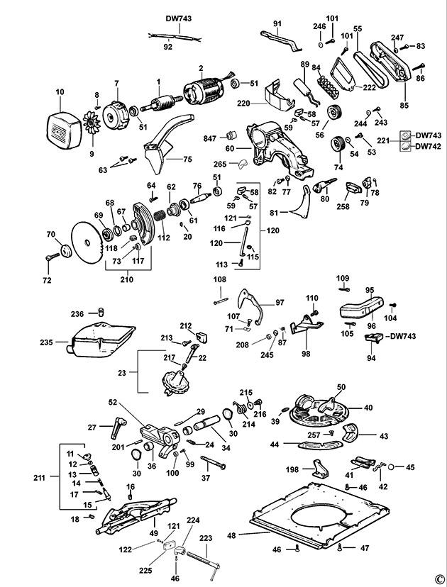 Dewalt dw743 type 2 combination saw spare parts part shop direct greentooth Images