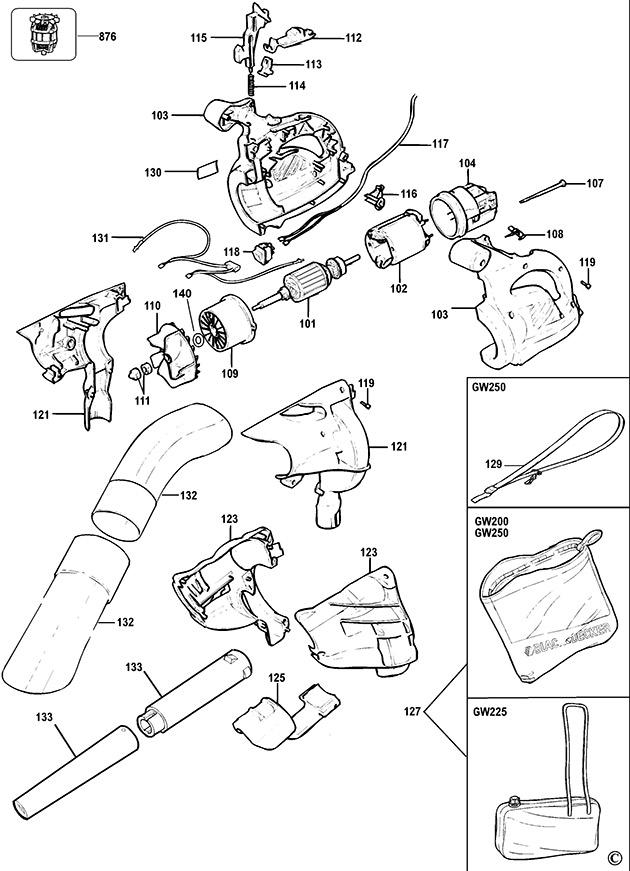 Black Amp Decker Gw250 Type 5 Blowvac Spare Parts Part