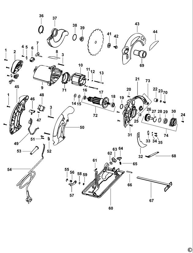 Black decker cd601 type 1 circular saw spare parts part shop direct ex vat inc vat black decker screw keyboard keysfo Images