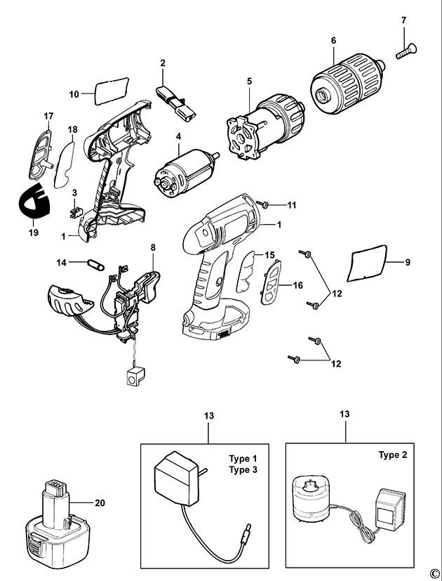 Black Decker Kc12gt Type 1 Cordless Drill Spare Parts