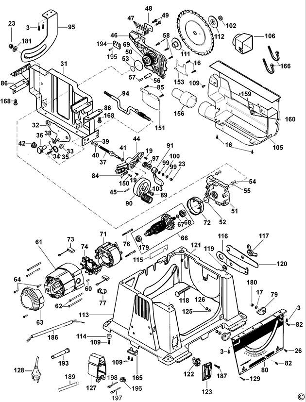 dewalt dw744 type 3 table saw spare parts