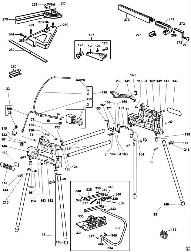 Dewalt dw743 type 4 combination saw spare parts part shop direct greentooth Images