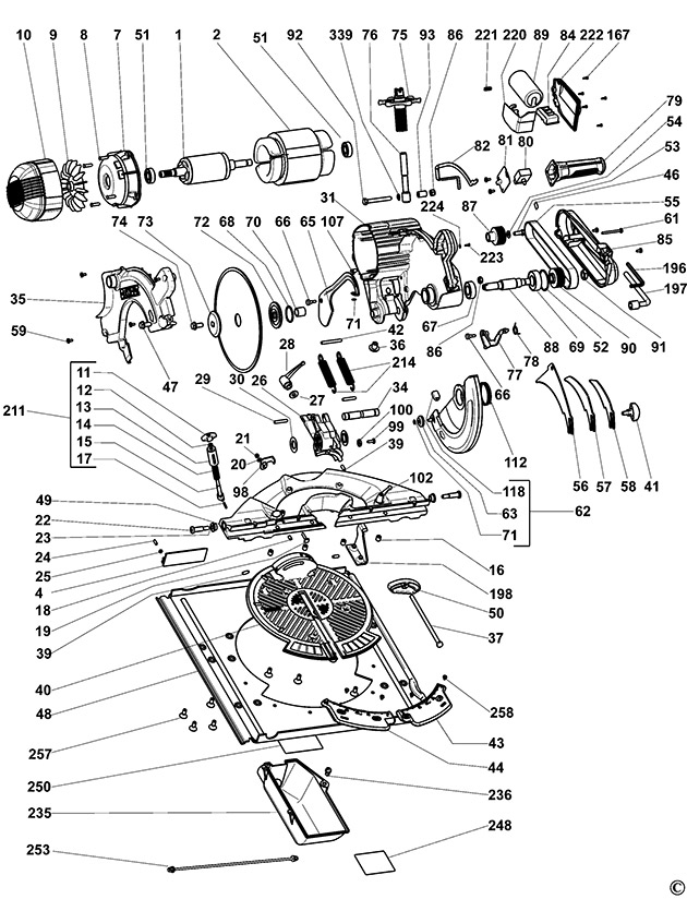 Dewalt dw743 type 4 combination saw spare parts part shop direct ex vat inc vat greentooth Images