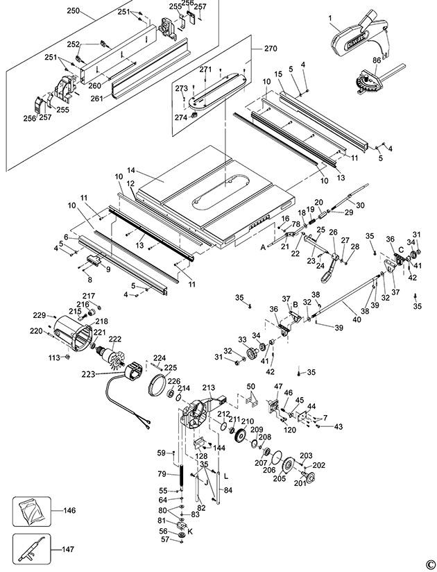 Dewalt Dw745 Type 1 Table Saw Spare Parts Part Shop Direct