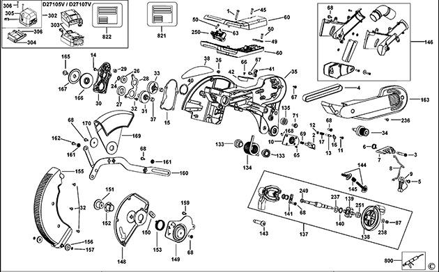 Dewalt d27107 type 3 combination saw spare parts part shop direct ex vat inc vat greentooth Images