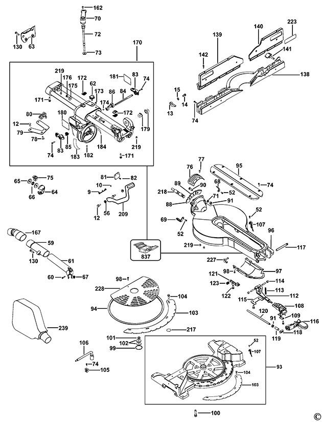 Dewalt Dw718xps Type 5 Mitre Saw Spare Parts Part Shop