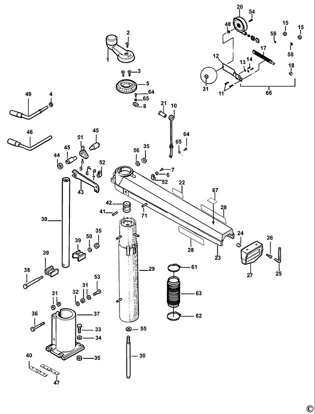 dewalt dw721kn type 2 radial arm saw spare parts
