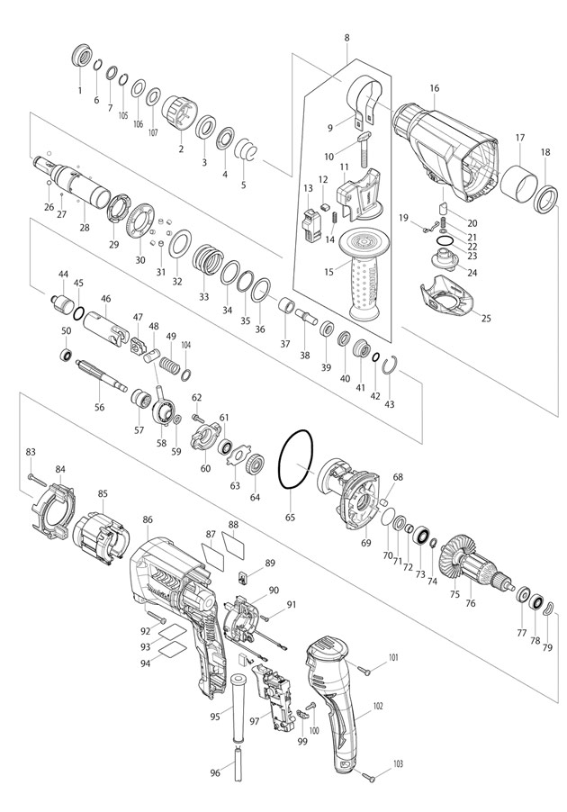 sds wiring diagram makita hr2300    sds    plus rotary hammer spare parts part  makita hr2300    sds    plus rotary hammer spare parts part