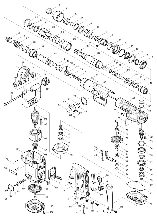 Makita Hr4500c Sds Max Demolition Hammer Spare Parts