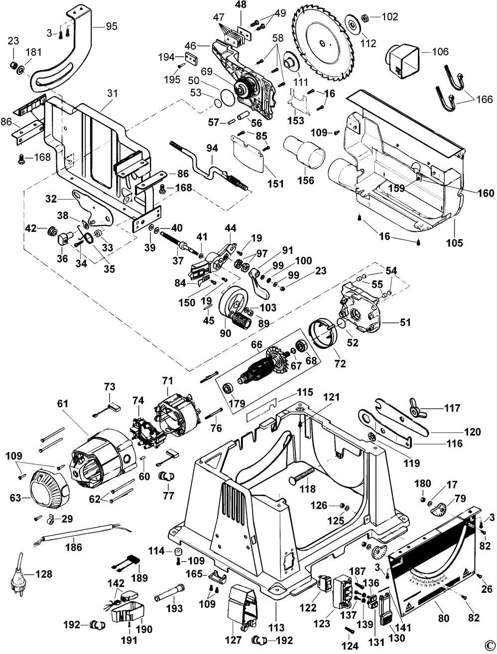 Dewalt Dw744xp Type 2 Table Saw Spare Parts Part Shop Direct
