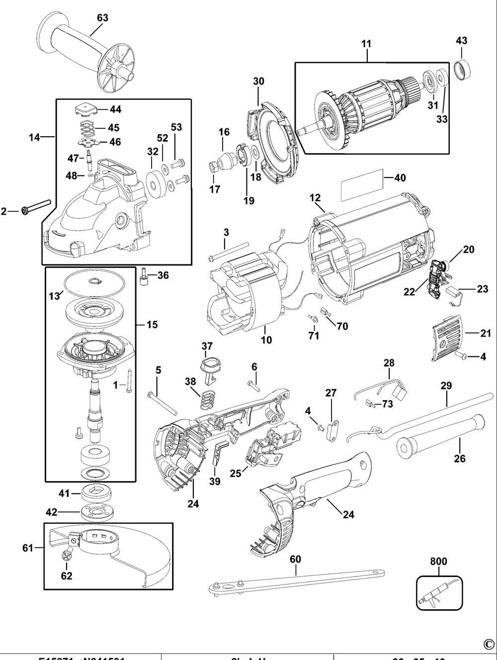 Dewalt D28493 Type 2 Angle Grinder Spare Parts Part Shop