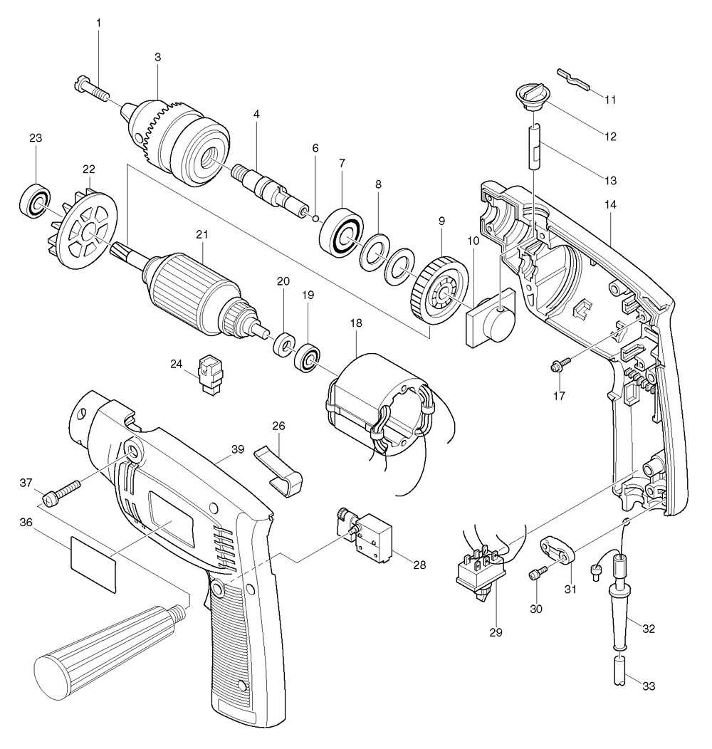 Makita HP1300S Hammer Drill Spare Parts - Part Shop Direct on