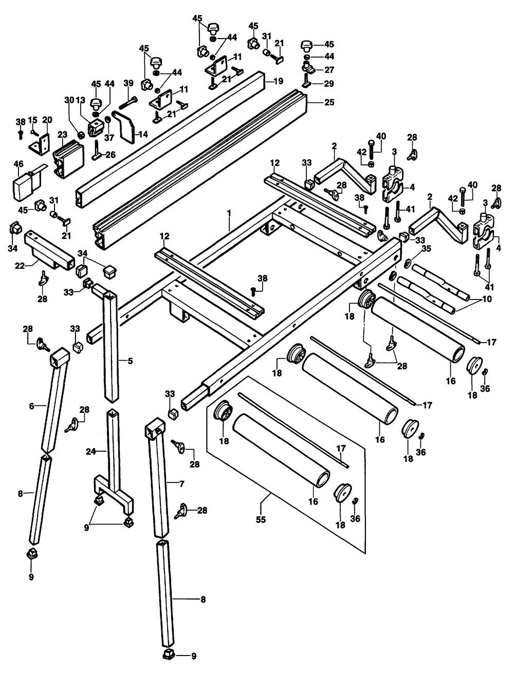 dewalt de3497 type 1 roller table spare parts
