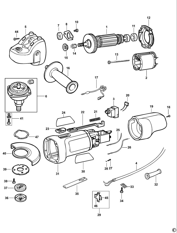 Black Amp Decker Cd115 Type 1 Angle Grinder Spare Parts