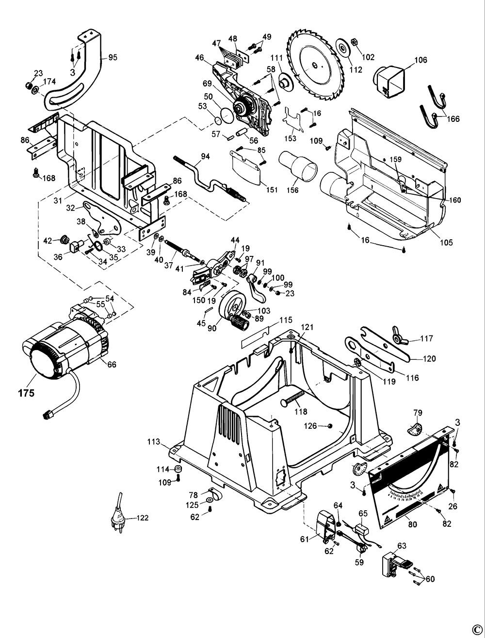 Dewalt Dw744xp Type 1 Table Saw Spare Parts Part Shop Direct
