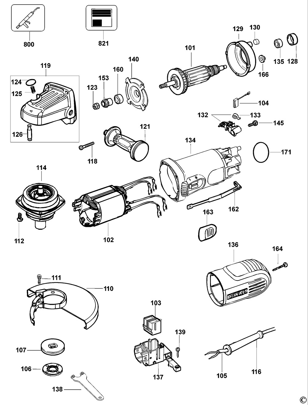 Dewalt D28128 Type 1 Small Angle Grinder Spare Parts