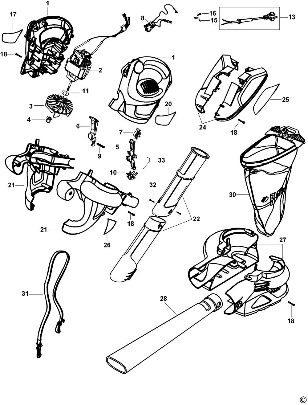 Black Amp Decker Gw350 Type 1 Blowvac Spare Parts Part