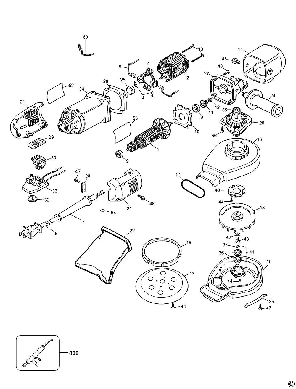 dewalt dw443 type 2 random orbit sander spare parts